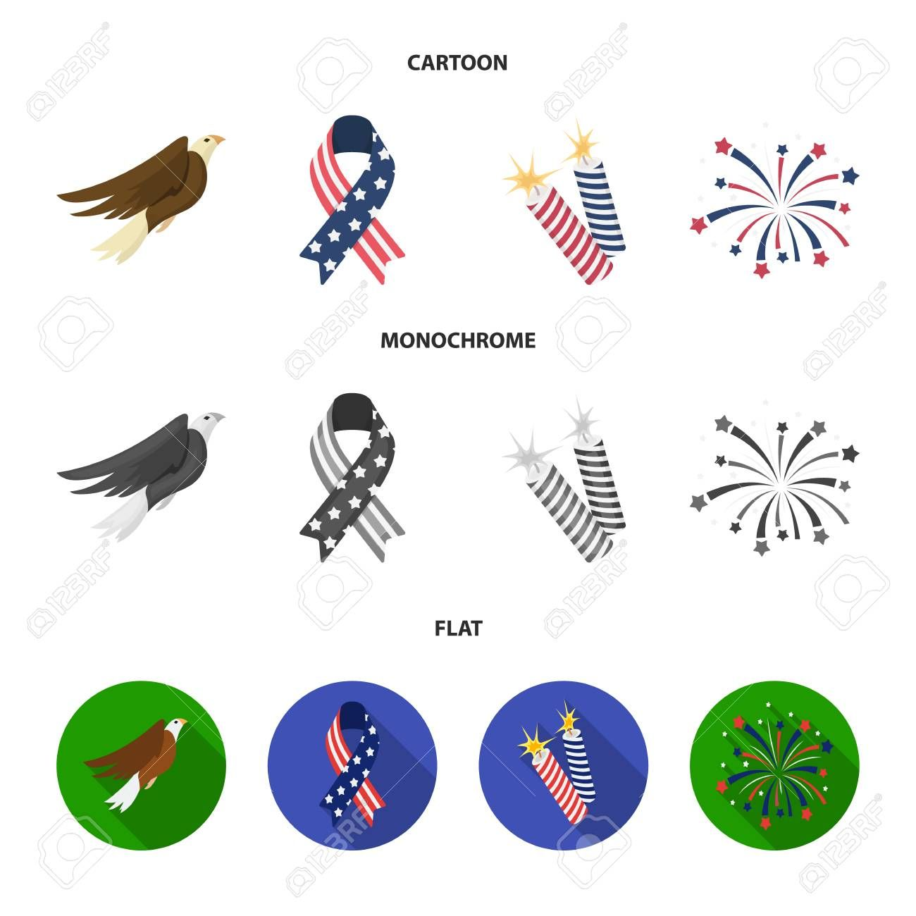 American eagle ribbon salute The patriot day set collection icons in cartoonflatmonochrome style vector symbol stock illustration