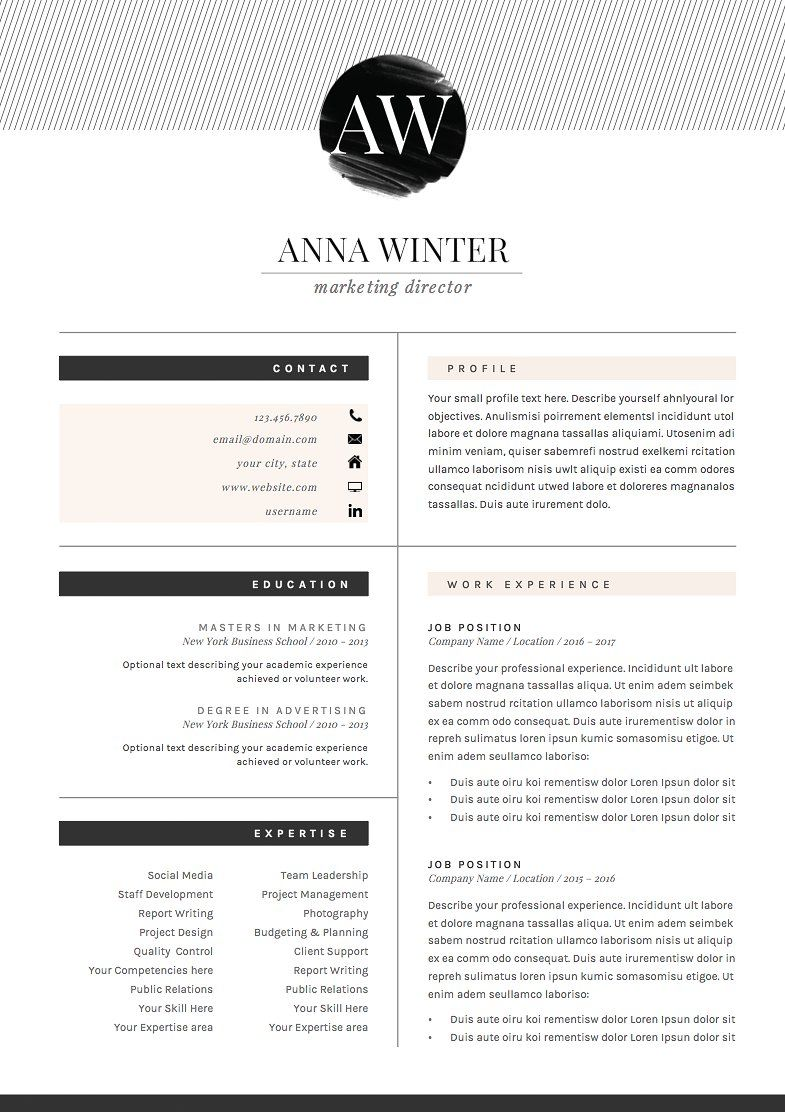 Cv Formats Interesting Resume Template 5Pages  Stiletto  Template