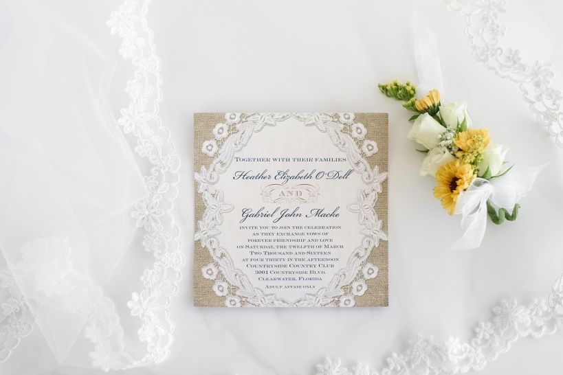 Countryside Country Club Wedding by Sarah & Ben Featuring  Embroidered Embrace Wedding Invitation from Invitations by Dawn