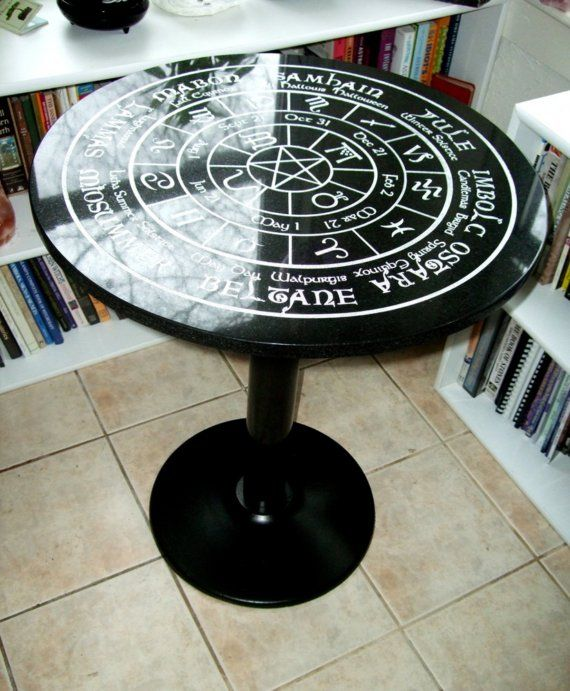 Old World Pagan Wheel Of The Year Fully Engraved Altar Tarot Reading Table With Cast Iron Base Pagan Witchy Crafts Pagan Crafts