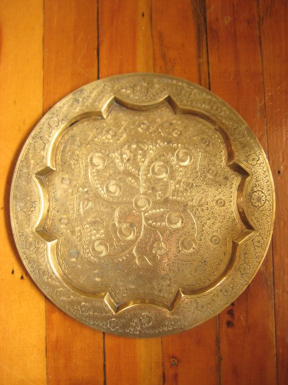 Carved Solid Brass Tray - Bar Tray