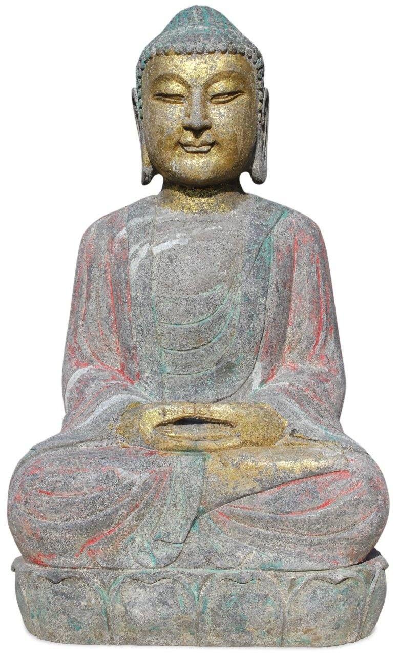 Garten Buddha Statue Aus Naturstein Mit Meditations Geste Frostsicher Und Witterungsbestandig 70 Cm Buddha Figur Natursteine Buddha