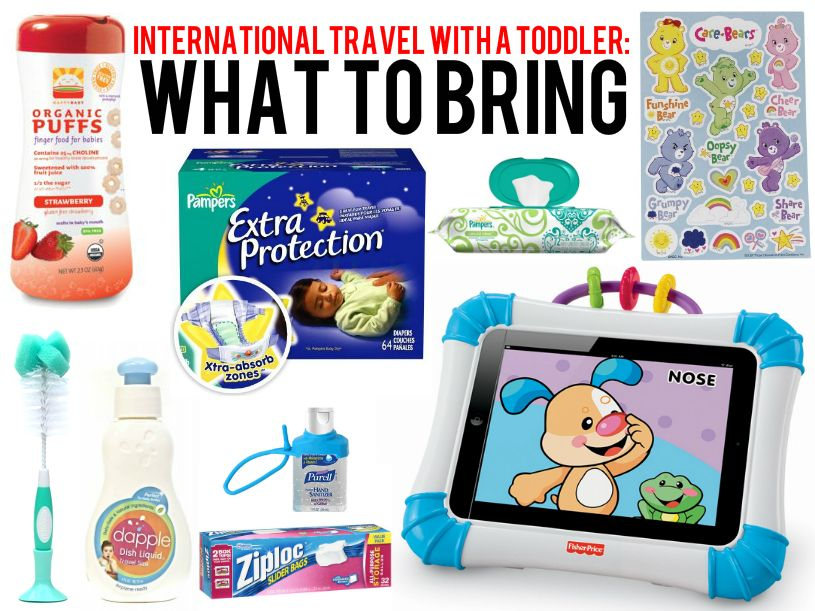 What to bring along when flying internationally with your toddler... and other tips.
