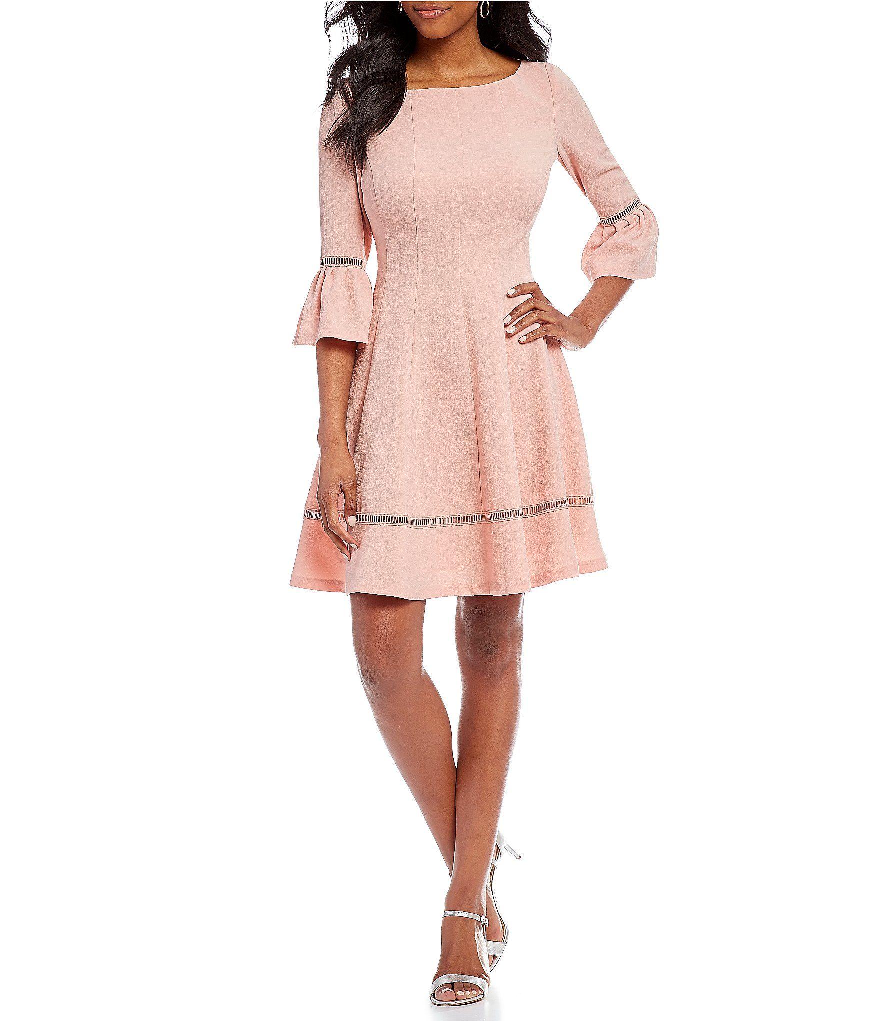 378bc7d3e86 Eliza J Cutout Lattice Trim Bell Sleeve Fit and Flare Dress ...