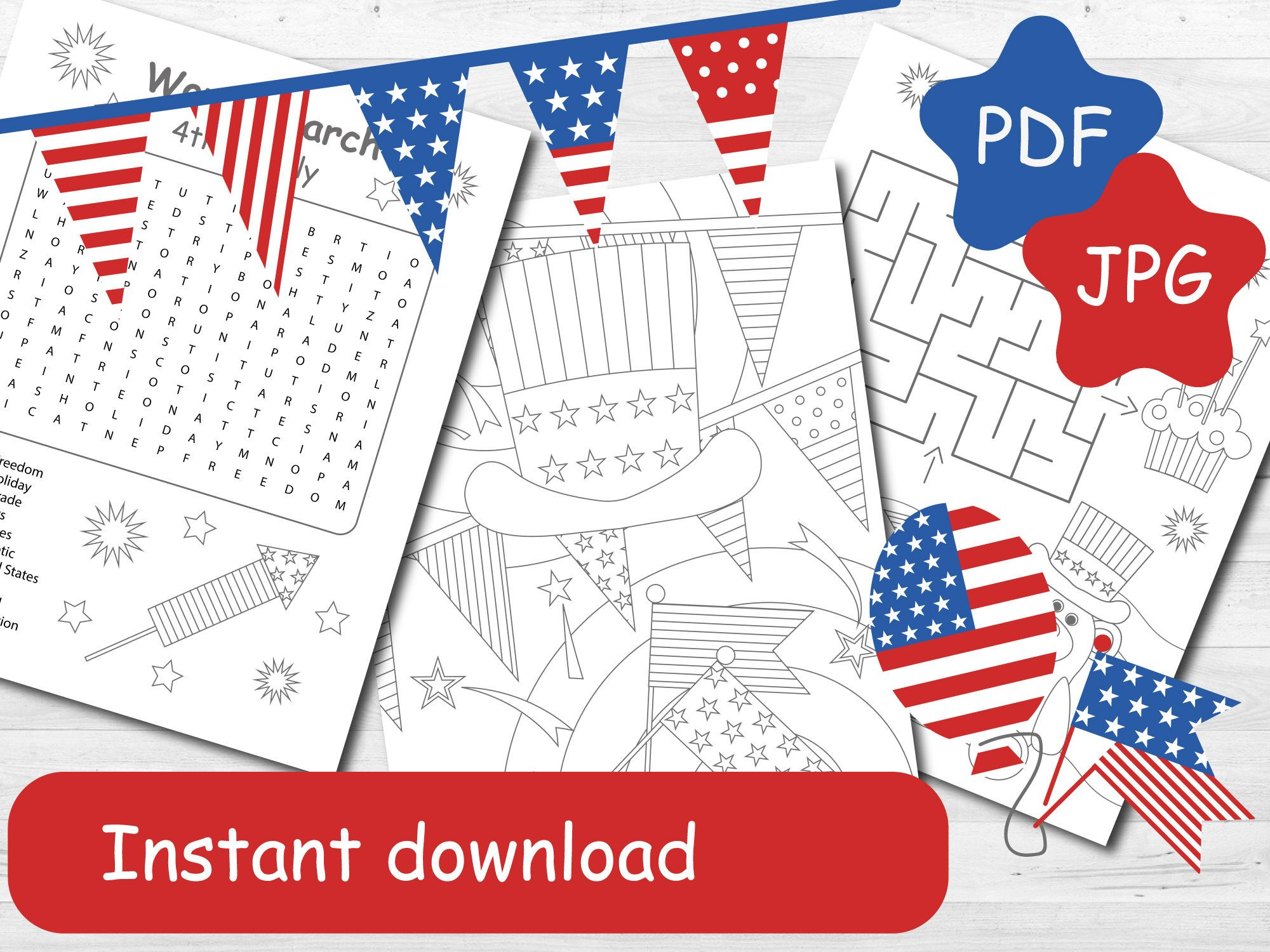 4th Of July Coloring And Activity Pages For Independence