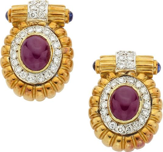 Estate Jewelry:Earrings, Ruby, Diamond, Sapphire, Gold Earrings. ...