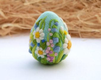 Photo of Items similar to needle felted eggs easter decor easter ornament felt wool home decoration flower spring wreath on etsy