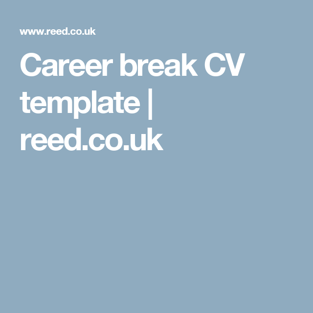 career break cv template