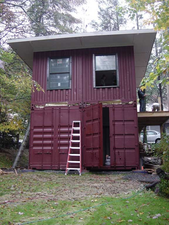 Shipping container homes high country green boxes dwellbox boone north carolina 2 x 40ft - Box container homes ...
