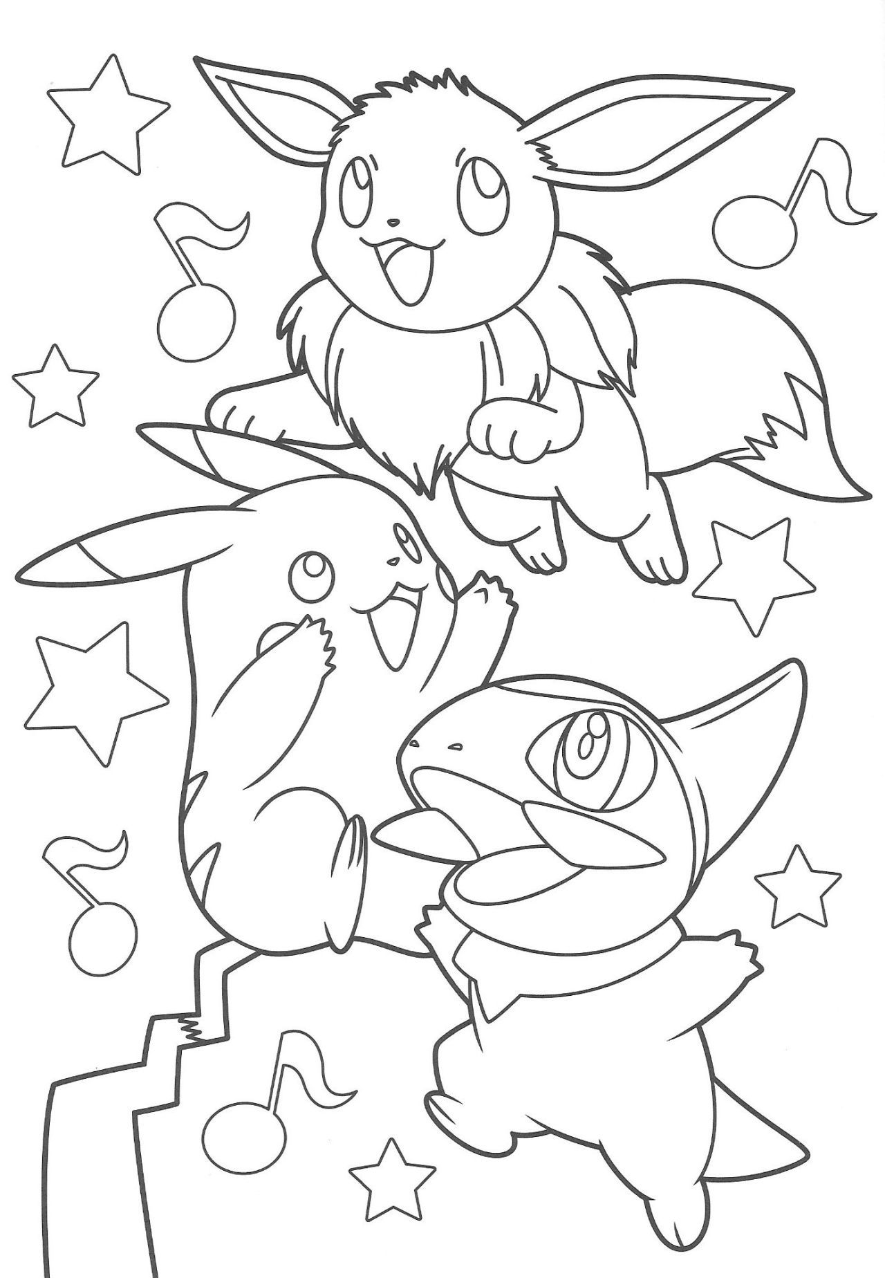 Pikachu and Eevee Friends coloring book Pokemon coloring