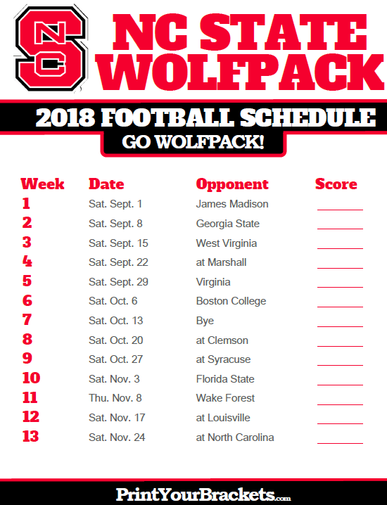 2018 Printable Nc State Wolfpack Football Schedule Printable