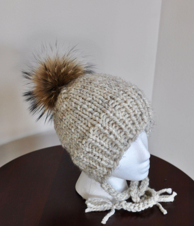 b1a457695 Kids Pom Hat Ear Flap Hat Fur PomPom Girls Beanie Fur Pom Pom Girls ...