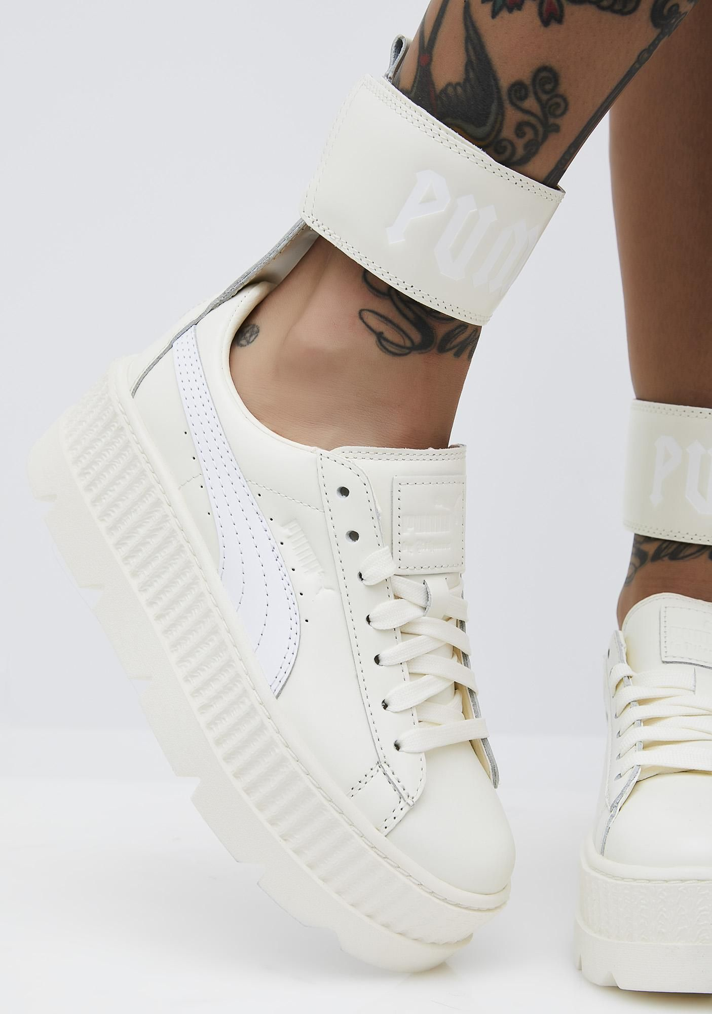 PUMA Vanilla FENTY PUMA by Rihanna Ankle Strap Sneaker will keep you  lookin  dope af! These off-white sneakers have thikk platform soles and an  attached ... 25315a8e3