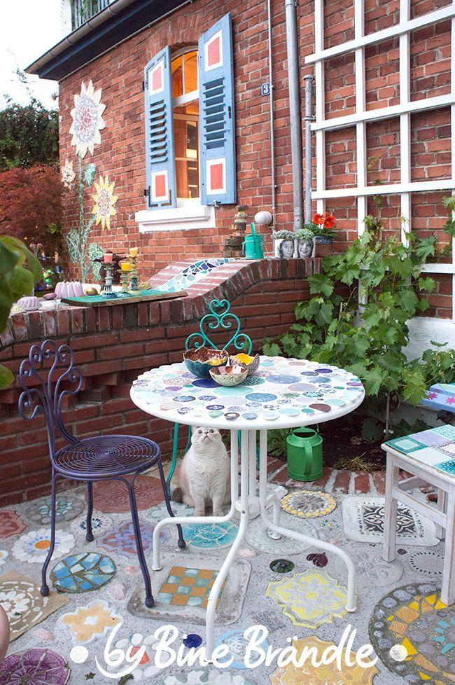 Töpfern Gartentisch mosaik, Selber machen garten