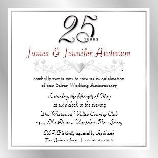 25th anniversary party invitations 25th wedding anniversary party