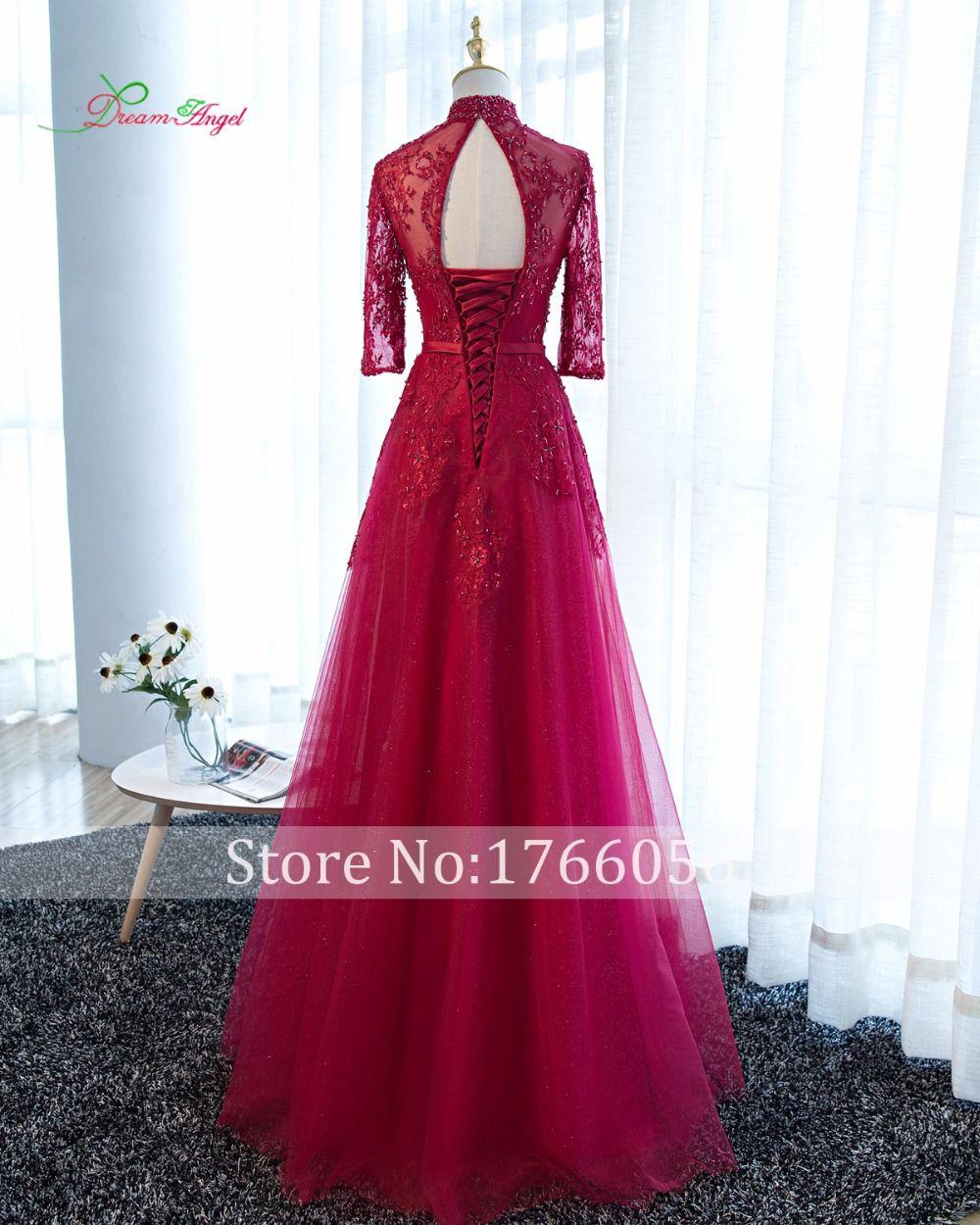 Dream angel elegant high neck a line long sleeve prom dresses