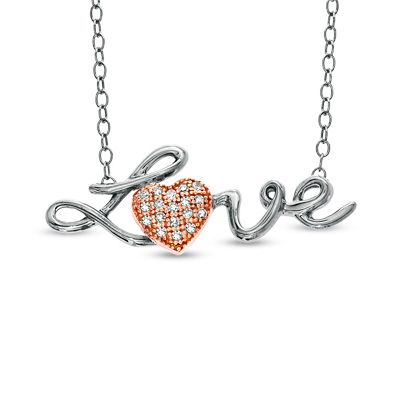 Diamond accent love heart pendant in sterling silver and 10k rose diamond accent love heart pendant in sterling silver and 10k rose gold peoples jewellers diamond mozeypictures Images