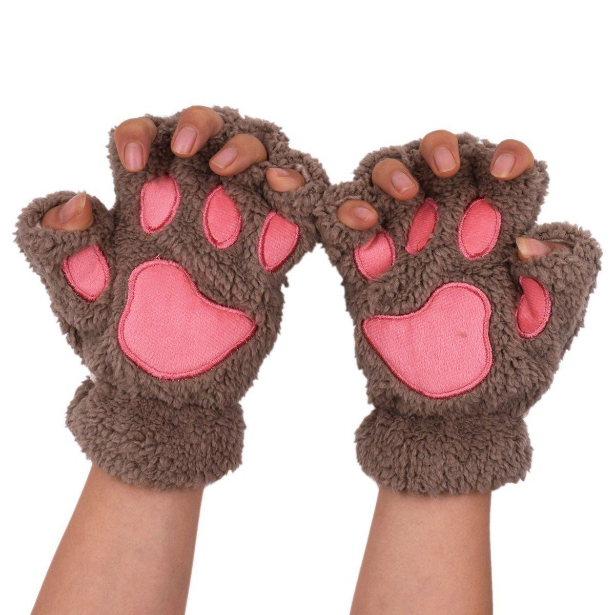 Witery Cute Winter Warm Cat Bear Paw Kitten Fingerless Plush Gloves For Girls Women You Can Get More Details By Clicking On The Gloves Bear Paws Fingerless