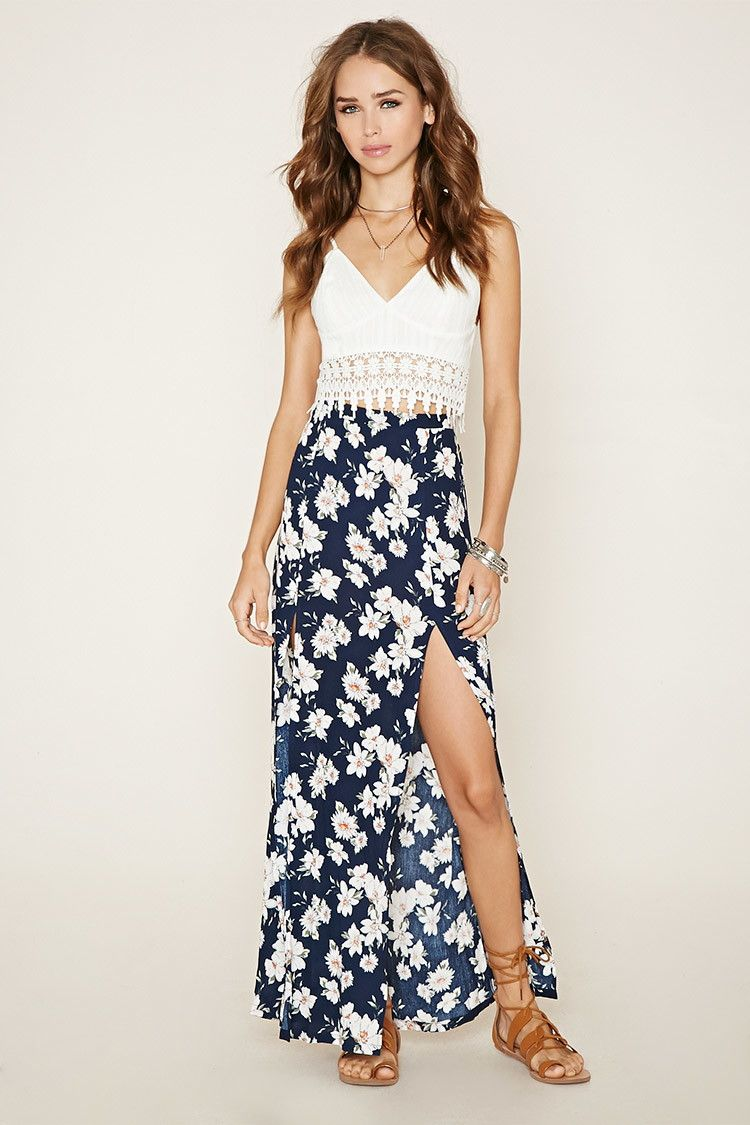 Floral M-Slit Maxi Skirt