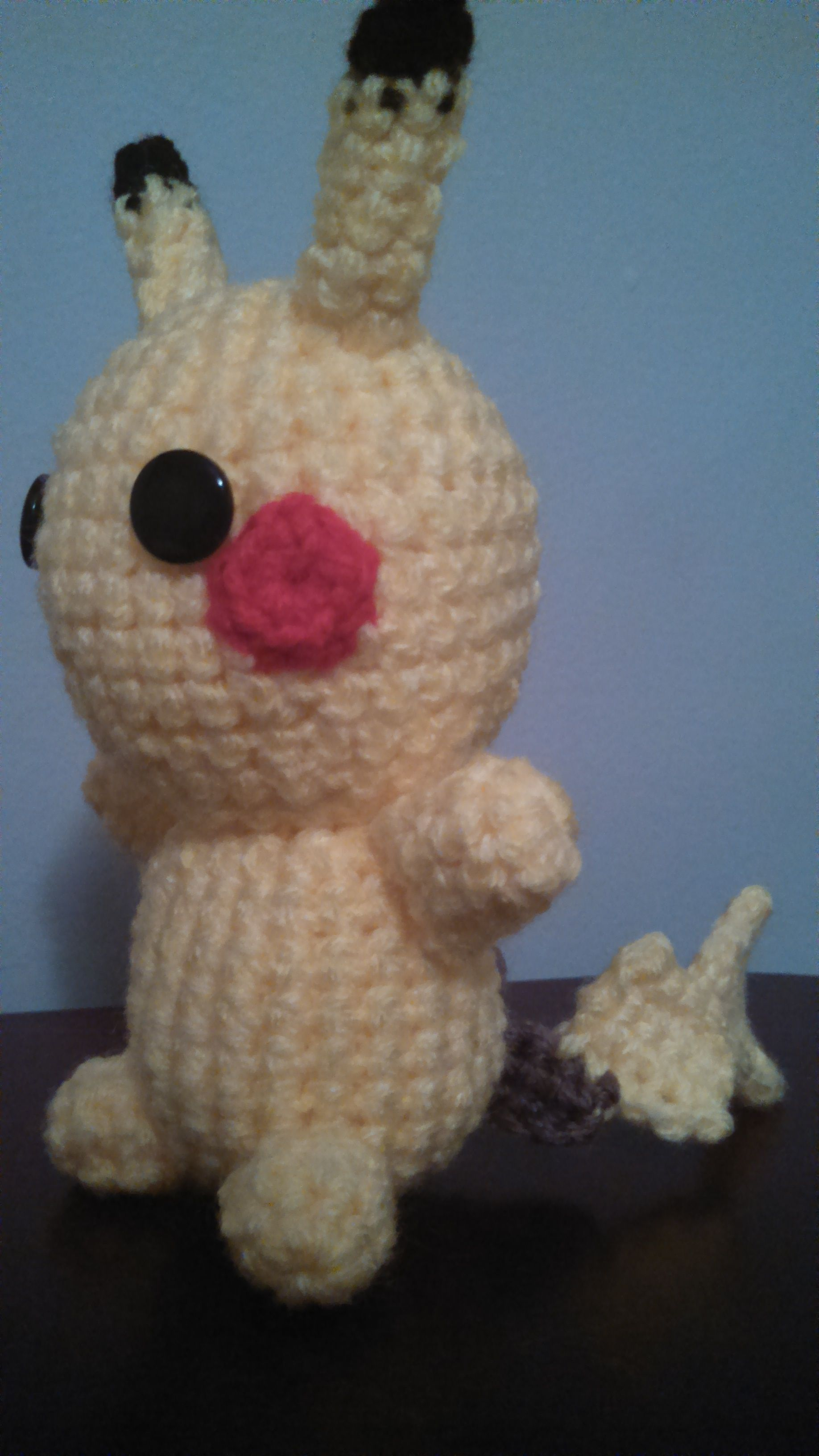I made this Pikachu ami as a Christmas gift, for the same friend who got the Squirtle