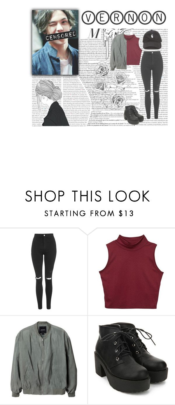 """""""H A N S O L  V E R N O N  C H O I"""" by typical-ghoul ❤ liked on Polyvore featuring Oris, Topshop and Monki"""