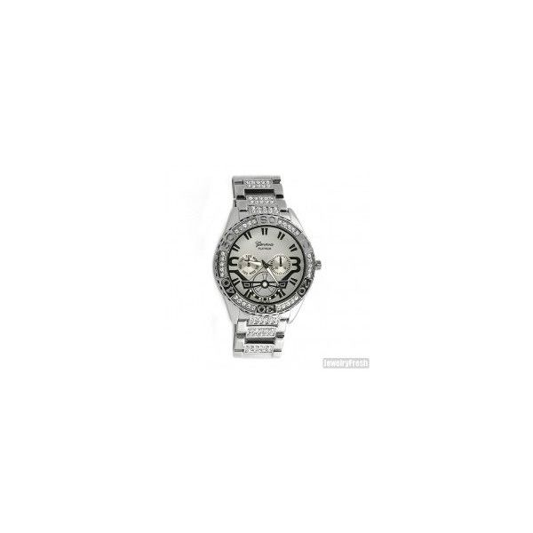 Silver Finish Spory Iced Out Bling Hip Hop Watch