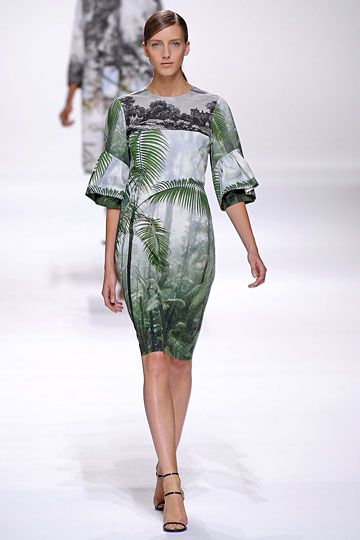 Dries Van Noten Spring 2012 collection. Photography-print dress with puffy elbow sleeves.