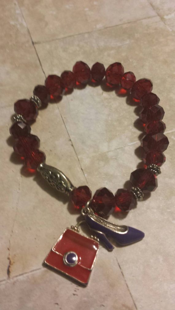 Red Hat Club / Red bracelet / Stretchy beaded Bracelet / Gift for Grandma - Red hat club bracelet –   Size: 5 3/4 It is a beaded single strand bracelet made out of a heavy stretchy elastic for ease in putting it on. No clasps to deal with.