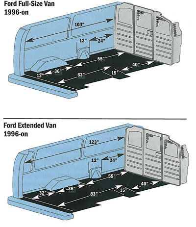 Ford Econoline Zones And Measurements With Images Ford
