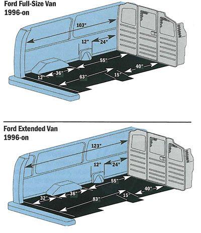 Ford Econoline Zones And Measurements Ford Econoline Cargo Van