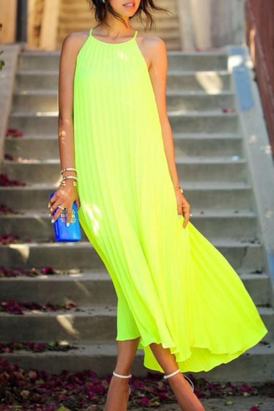 Bright Yellow Pleated Spaghetti Strap Sleeveless Maxi Chiffon Dress