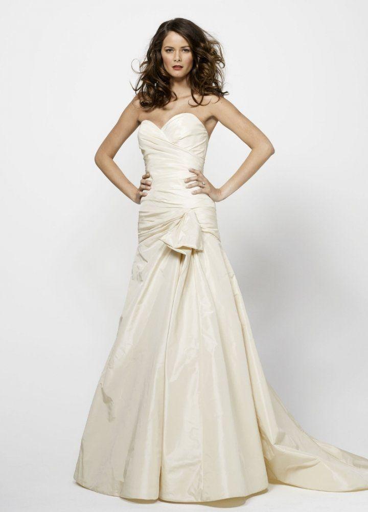 Fit & Flare Sweetheart Side Draped Bodice Hip Detail Taffeta Wedding ...