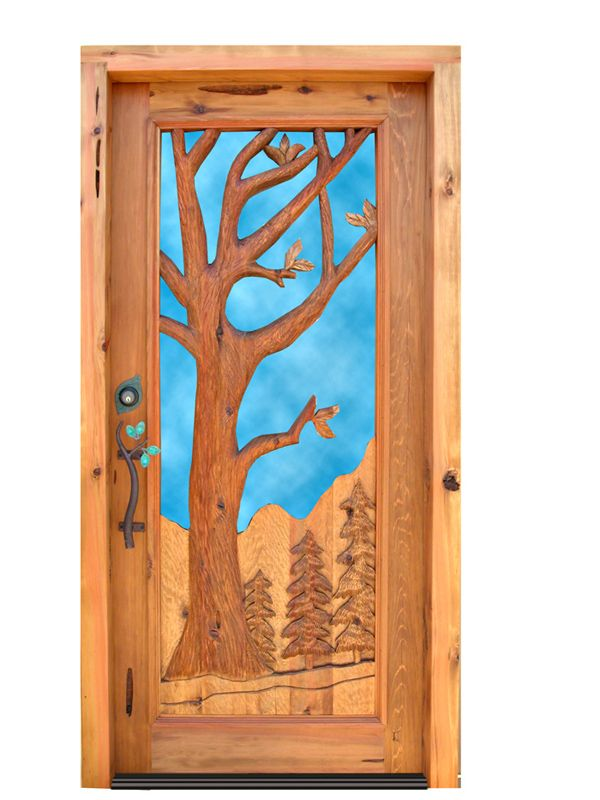 Doors  sc 1 st  Pinterest & Log Home Glass Door With Hand Carved Tree - 4630HC | Ideas for the ...