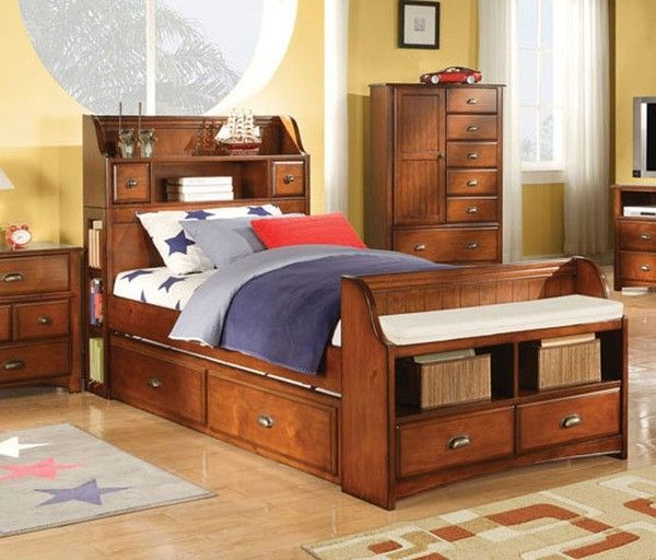For Verity Acme 11008 Brandon Oak Finish Twin Bookcase Storage Trundle Bed I Love The Footboard Might Like If It Had A Simple Headboard And