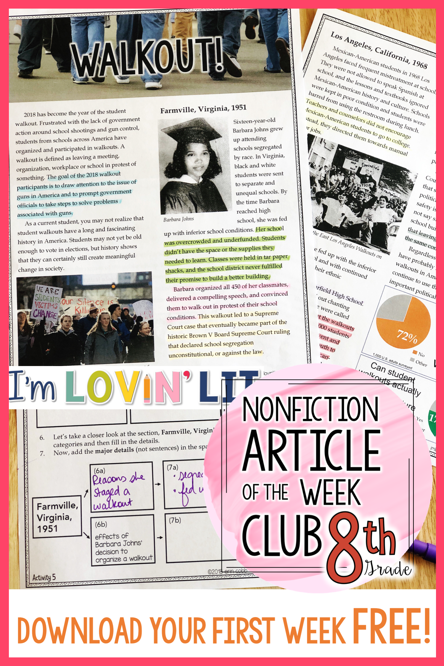 small resolution of Informational Text Standards for 8th Grade: Nonfiction Article of the Week  Club! Download t…   Articles activities