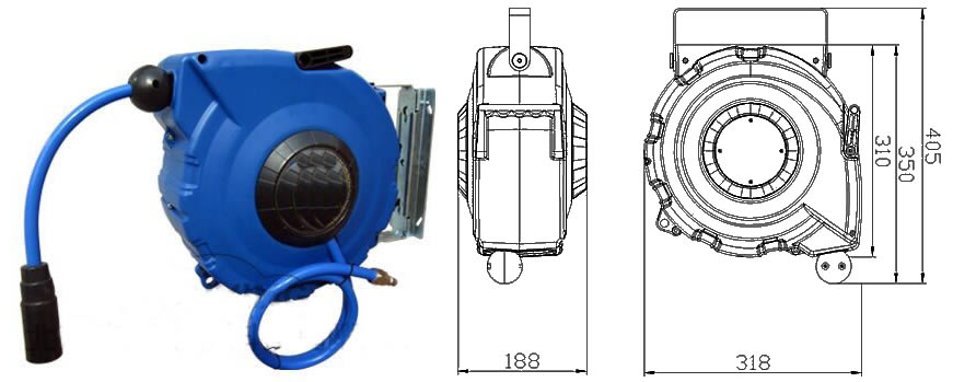 Spring and Manual Rewind Air Hose Reel Widely Used For
