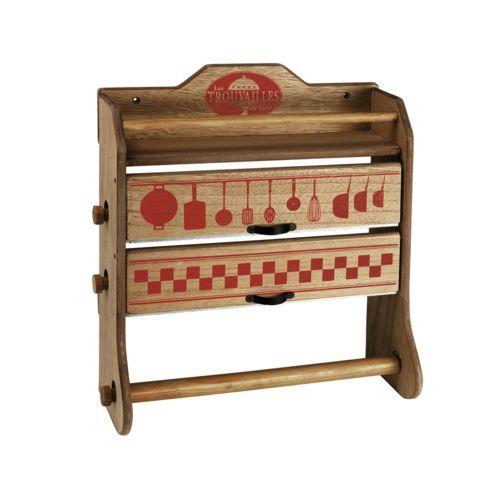 Comptoir de famille Dévidoir 3 rouleaux en bois rouge 30xH345cm