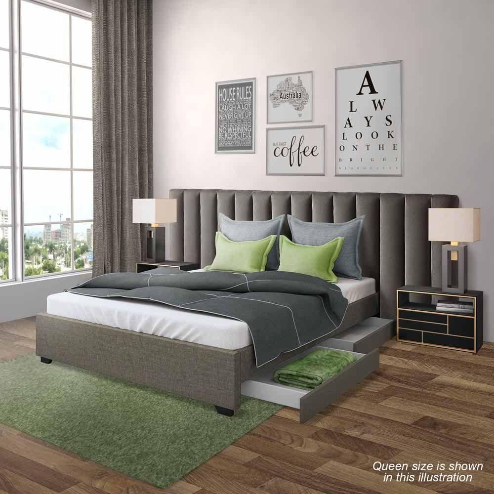 Aquila Prisca Queen Headboard Bed Base Package Grey Headboards For Beds Queen Headboard Upholstered Walls