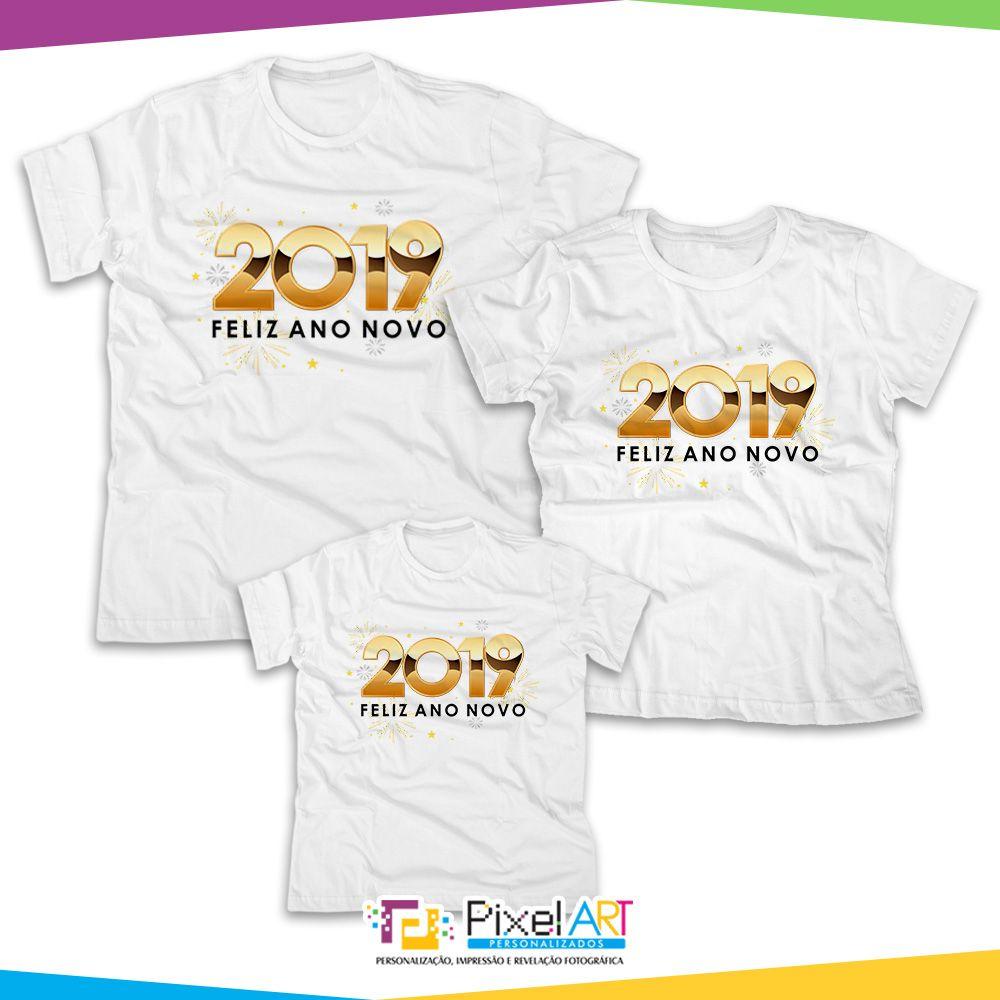 Kit Camisetas feliz ano novo é uma excelente opção você e sua família  entrar com tudo 64b2ae492e8