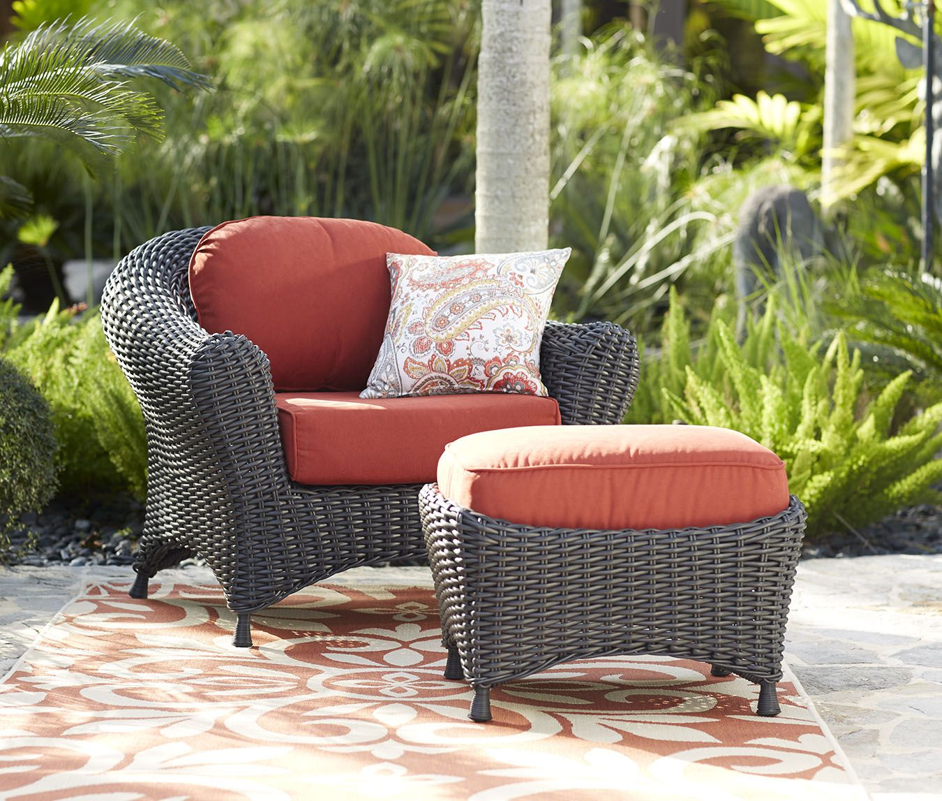 Martha Stewart Living Lake Adela Weathered Gray Patio Lounge Chair And Ottoman Set With Surf C Patio Lounge Chairs Outdoor Furniture Sets Chair And Ottoman Set