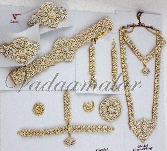 a9bba55ea6 Bharatanatyam jewellery 10 pcs White stone Indian bridal wedding Kuchipudi  dance jewelry set