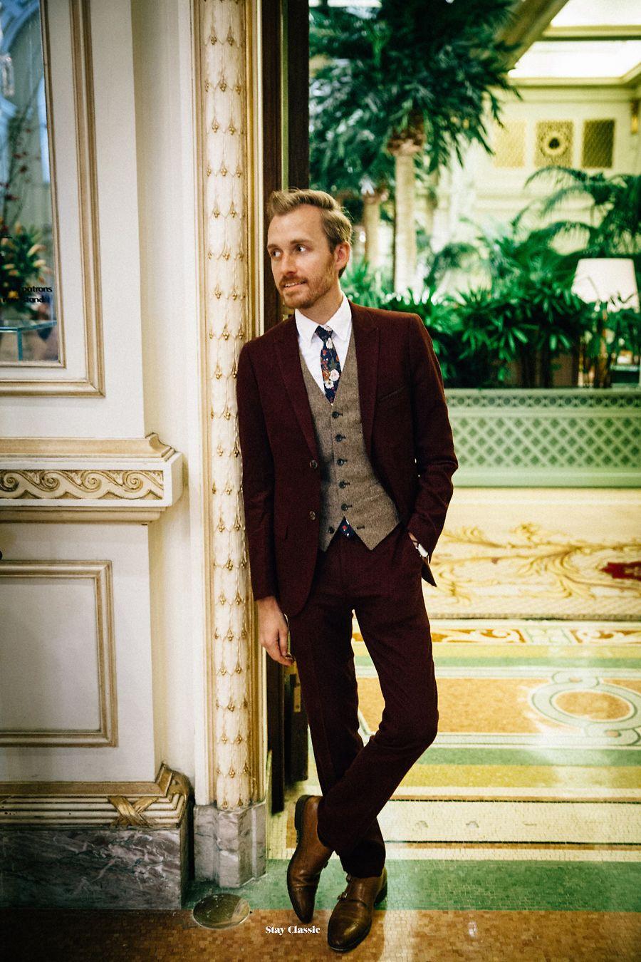 Men's Burgundy Suit, Brown Wool Waistcoat, White Dress