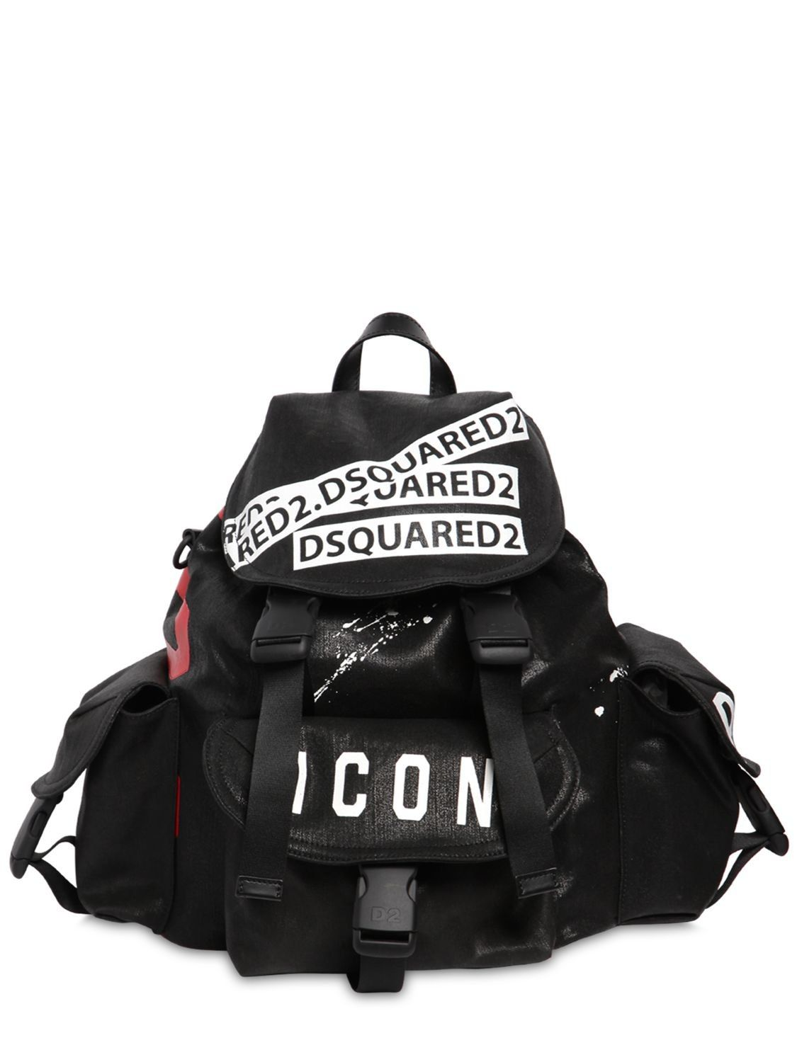 e63b827d580a DSQUARED2 ICON PRINTED WAXED DENIM BACKPACK.  dsquared2  bags  lining   denim  backpacks  lace  cotton