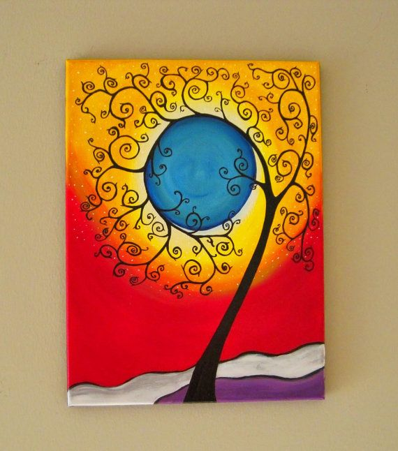 Original Tree of Life Wall Art, Abstract Tree painting, Whimsical ...