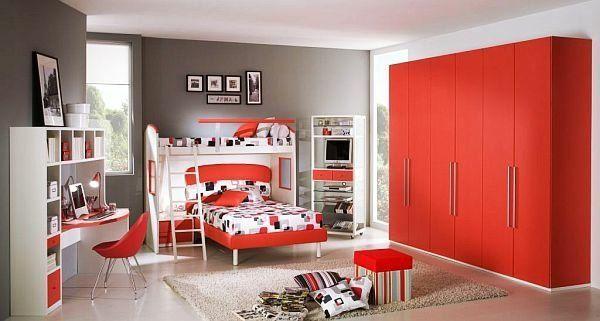 chambre ado et déco en gris et rouge Home Remodeling Suggestions