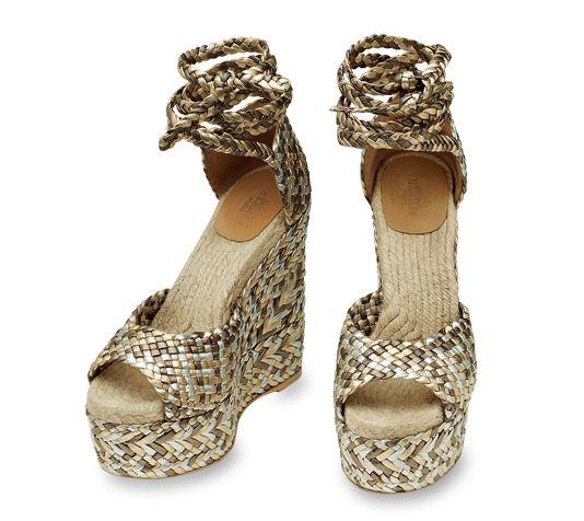 "Epice Tresse Espadrille Wedge Hermes ladies' braided espadrille in silver/gold/bronze laminated nappa calfskin, with silver/gold/bronze braided wedge heel, hand woven, 3.54"" heel"
