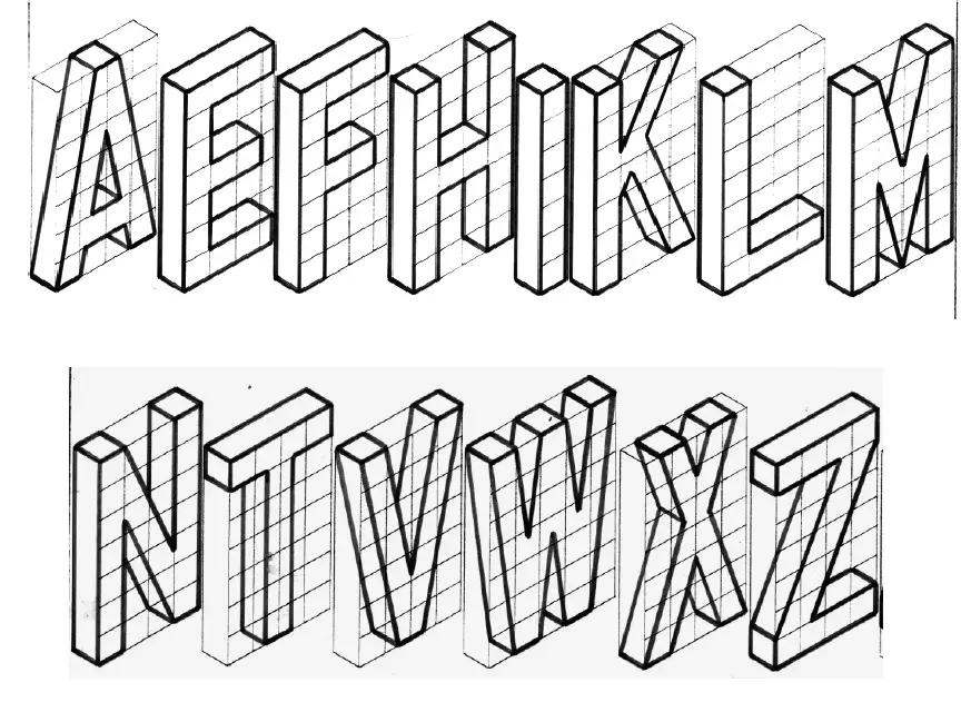 Letras Perspectiva Grafica Geometria Euclidiana En 2020 Letras Dibujo Tecnico Ejercicios Tecnicas De Dibujo