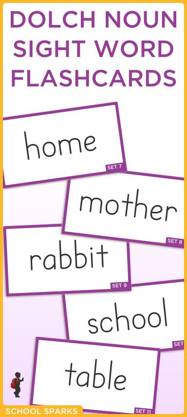 Free Dolch sight word flashcards with Dolch nouns Each page - dolch sight word flashcards