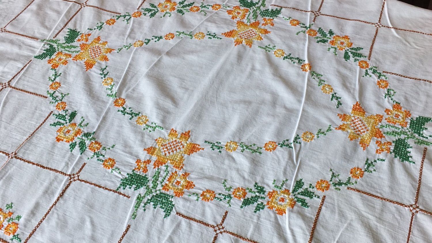 Vintage Fifties colorfull Kitsh #antique French #linen tablecloth #handmade embro,  View more on the LINK: http://www.zeppy.io/product/gb/3/233412716/