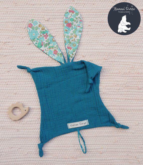 Doudou flat bunny ears, pacifier, blanket baby, 1 age, child, birthday gift, blanket, double gauze, liberty ears